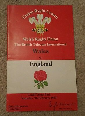 wales v England 1983 rugby union programme