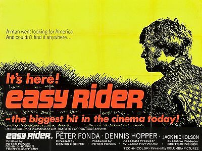 """Easy Rider 1969 16"""" x 12"""" Reproduction Movie Poster Photograph"""