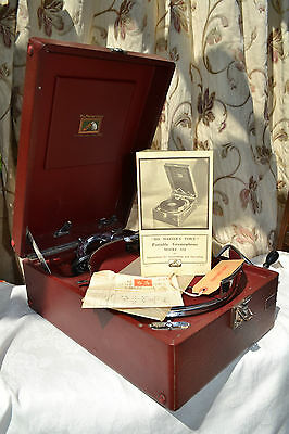 HMV 102 Red table top gramophone with soundbox No. 5B- Excellent