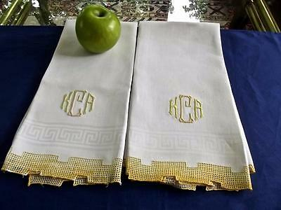 2 Antique Huck Damask Linen Bath Face Show Towels Geometric Lace Monogram KCA