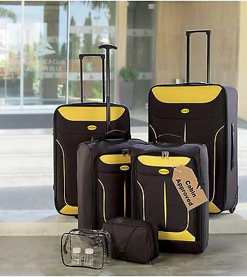 6 Piece Luggage Set SUITCASE Yellow Black Cabinbag Lightweight NEW Good Offer