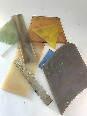 Stained Glass Scraps 11 Lbs various sizes, colors, textures Nice Selection #05