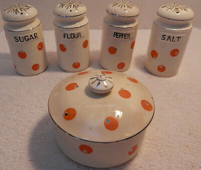 Vintage Range Set Salt,Pepper,Flour,Sugar & Drippings Jar Collectible
