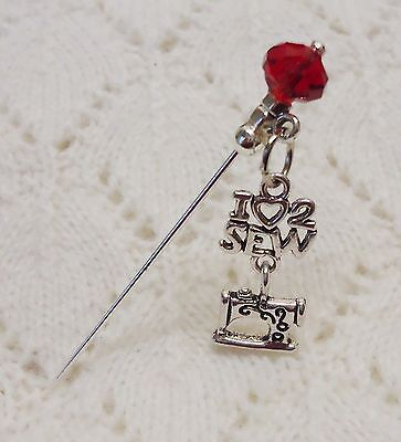 I Love 2 Sew Machine Crystal Bead HatPin with clutch Lapel Hat Brooch Stick Pin