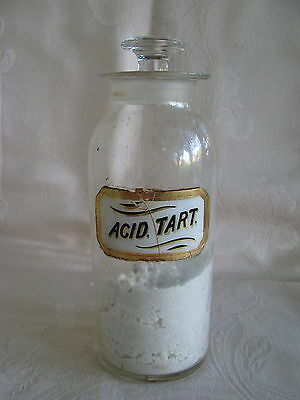 "Antique~APOTHECARY~Pharmacy~LABEL~Under~GLASS~BOTTLE~JAR~w/ STOPPER~9.5""~Content"
