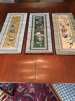 Three Chinese silk embroidered wall hanging panels
