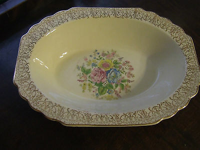 Ws George Lido Canarytone Gold Filigree Floral Small Oval Serving Bowl Euc