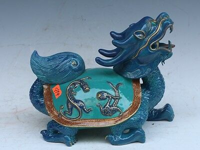 Chinese Exquisite Hand-carved Dragon turtle carving porcelain statue