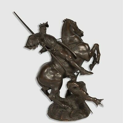 Antique French Bronze Fremiet 1824-1910 Saint George Slaying The Dragon