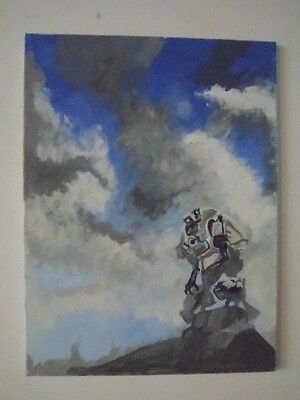 SciFi robot abstract hand painted, abstract art 16x20 canvas wall decor