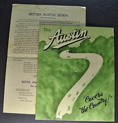 1934-1935 Austin Seven 7 Brochure + Prices Ruby Pearl Nippy Sports Nice Original