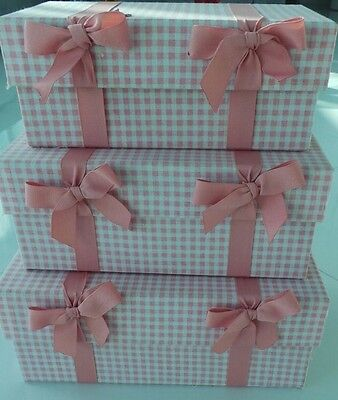 Set of 3 Pink & White Gingham Nesting Boxes with Bows for Storage