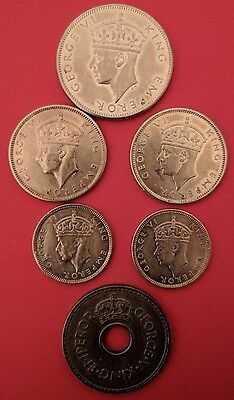 6 SILVER Coins: 1 1942S Florin , 2 1942 Shilling, 2 1942 6 Pence, 1 1936 Penny