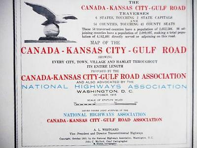 Proposed 1915 Canada-Kansas City-Gulf Road National Highway Ass. Map Duluth - La