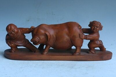 Chinese Exquisite Hand-carved child pig carving Boxwood statue