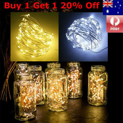 5/10M LED Battery Powered Copper Wire String Party Fairy Xmas Lights White Warm