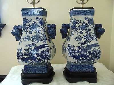 Pair Vintage Chinese Porcelain Blue and White Table Lamps