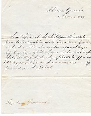 Scarce Original 1847 Rank Appointment Letter to a Captain Graham 78th of Foot