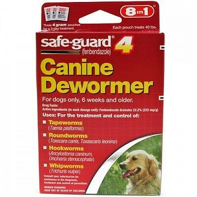 Safe-Guard Canine Dewormer - New In Red Box - Treats 40 Lbs