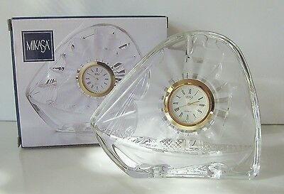 "Mikasa Crystal Glass CLOCK Voyager 4.5"" Made in Japan Boxed Brand New * REDUCED"