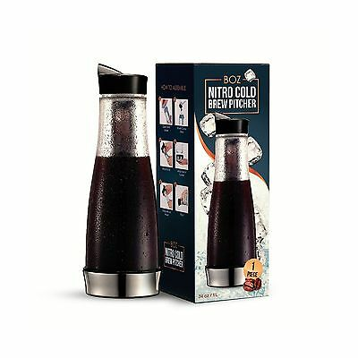 BOZ Cold Brew Iced Coffee Maker 1 Quart Glass Pitcher Built-in Swap Coffee Fi...