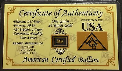 Acb 24K Gold Bullion Bar (1 Grain)