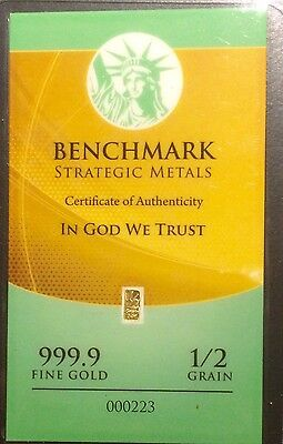 24K Gold Barter Bar Benchmark Strategic Metals (1/2) Grain With Coa(L50