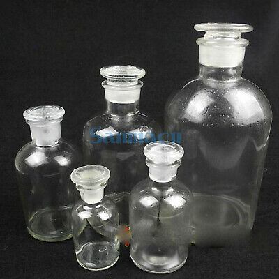 60-2500ml Clear Glass Narrow Mouth Bottle With Stooper Lab Chemistry Glassware