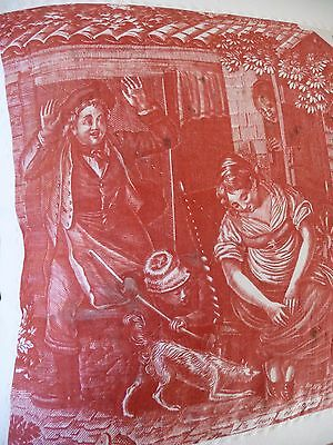 Antique French Fabric Pillow Antique Toile De Jouy Madder Red Toile De Nantes
