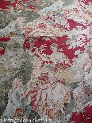 "ANTIQUE FRENCH FABRIC FRENCH TEXTILE CRETONNE FABRIC COUNTRY SCENES 31""x 110"""