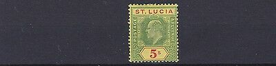 St Lucia  1904 - 10        Sg  77      5/-   Green & Red/yellow    Mh  Cat £60