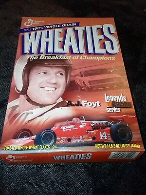 A.J. Foyt Wheaties Box. Unopened with cereal still inside.
