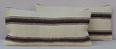 12'' X 24'' African Mudcloth Kilim Pillow Cover Set of Two Mud Cloth Cushions