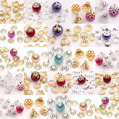 100/200 Pcs Filigree Flower Cup Shape Silver Loose Bead Caps For Jewelry Making