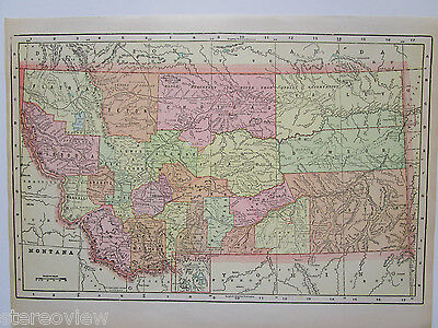 MT 1902 MONTANA Map Art Print Decor. 14x9. CUSTER BATTLEFIELD. 1900s George Cram