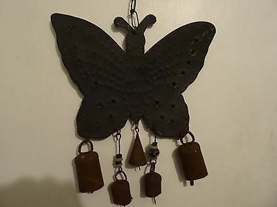rustic metal wind chime used butterfly design bells bead