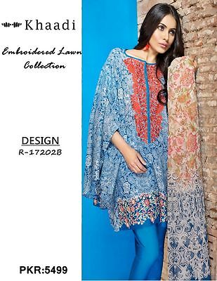 Khaadi Lawn Suit Blue Embroidered Unstitched Inspired 2017  R-17202B
