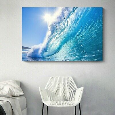Stretched Canvas prints seascape print Sun Beach in wave ocean view sea waves