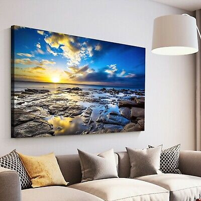 Framed Canvas prints Rock beach view time lapse blue sunrise modern wall art