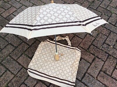 "Vintage ""nina Ricci"" Brown/beige Telescopic Umbrella In Zip Case Mint Condition"