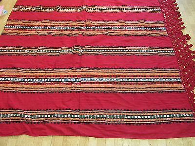 Antique Coverlet Blanket Wool Carpet Red Striped Balkan Bulgarian