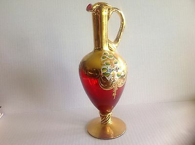 Vintage Venetian Murano glass Decanter Pitcher with Flowers Gilding and sticker