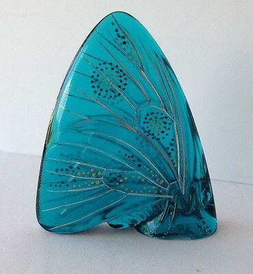 Standing Turquoise Lalique Butterfly