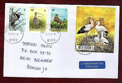 SLOVENIA STAMPS-Birds set + m/sheet, prioryty cover to Romania, 2011