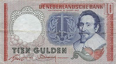 Netherlands  10  Gulden  23.3.1953  Series CKJ  Circulated Banknote L