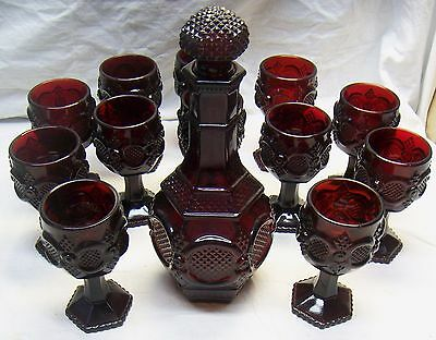Vintage Set Of Avon Ruby Glass 1876 Cape Cod Decanter & 12 Stemmed Wine Glasses