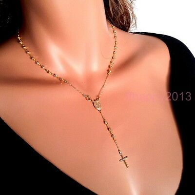 Women/'s Stainless Steel Black Plated Cross Pendant w// Beads Rosary Necklace 13N