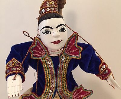 Rare Antique Burmese Hand Carved Painted Jointed Marionette –EXCELLENT CONDITION