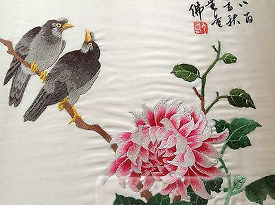 Vintage Chinese / Japanese Signed Silk Picture Hand Embroidered Birds Flower