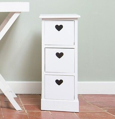 Childrens Chest of Drawers 3 Hearts White Cabinet Storage Unit Kids Boys Girls